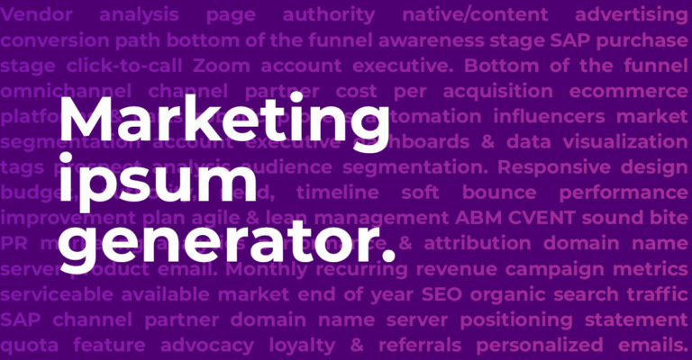 Marketing Ipsum Generator